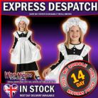 Fancy Dress Costume Book Week ~ Girls Victorian Maid Large Age 7-8